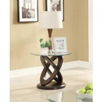 LIVING ROOM: GLASS TOP OCCASIONAL TABLES - Occasional Casual Espresso End Table