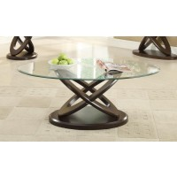 LIVING ROOM: GLASS TOP OCCASIONAL TABLES - Occasional Casual Espresso Coffee Table