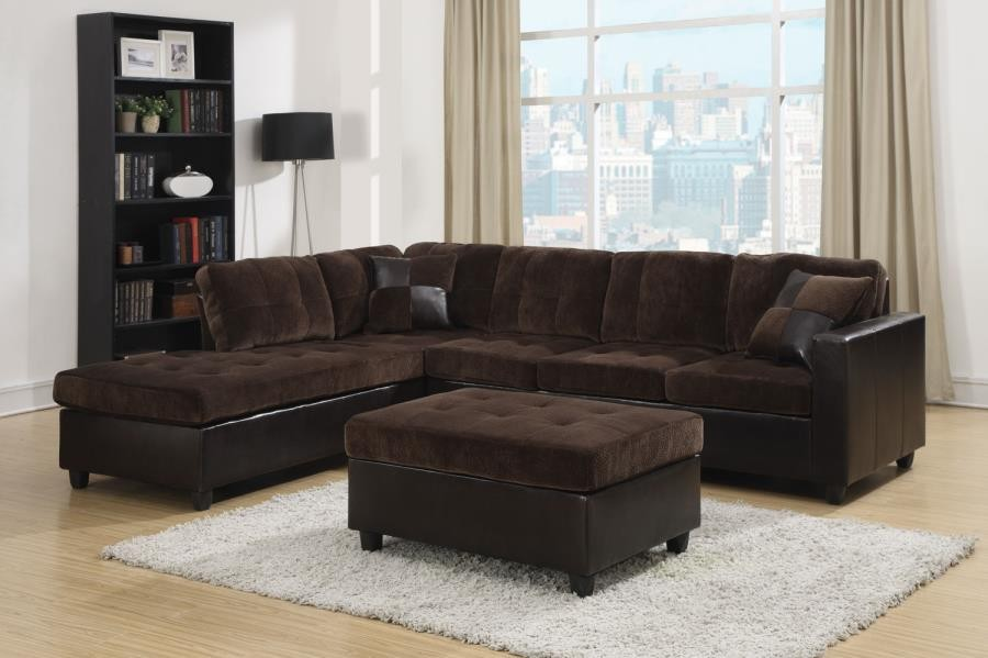MALLORY SECTIONAL - Mallory Casual Dark Chocolate Sectional