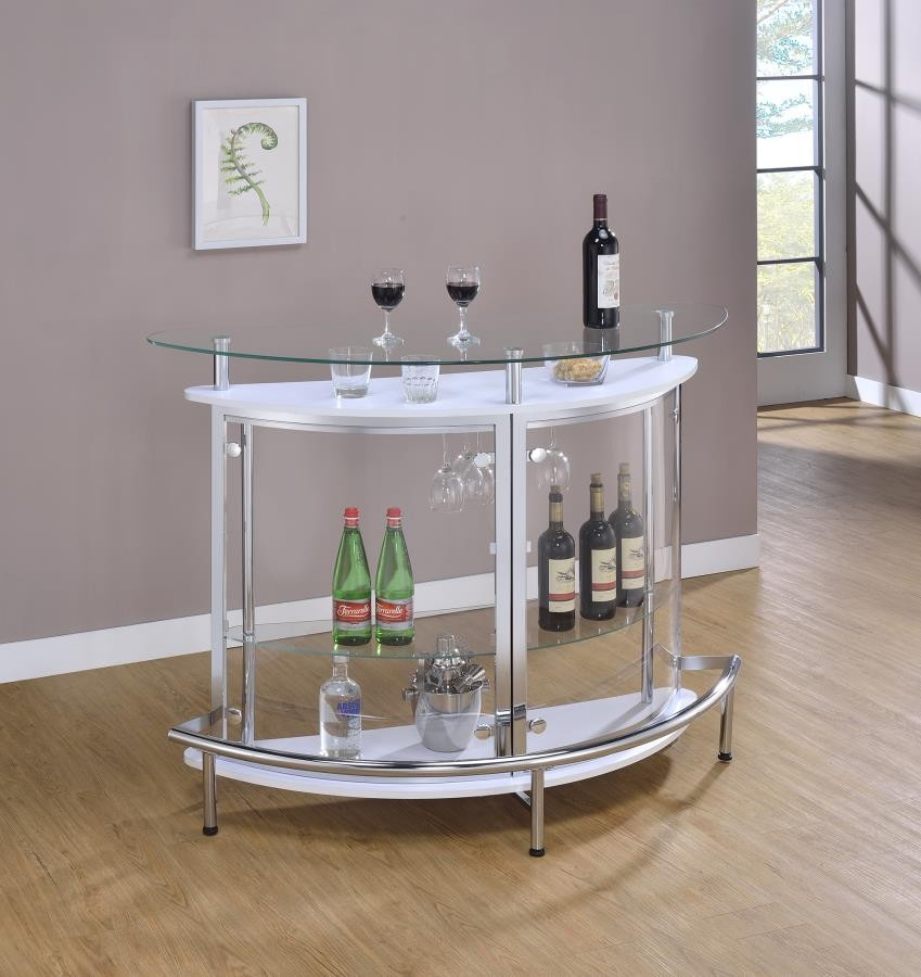 BAR UNITS: CONTEMPORARY - Glass and Chrome Bar Unit