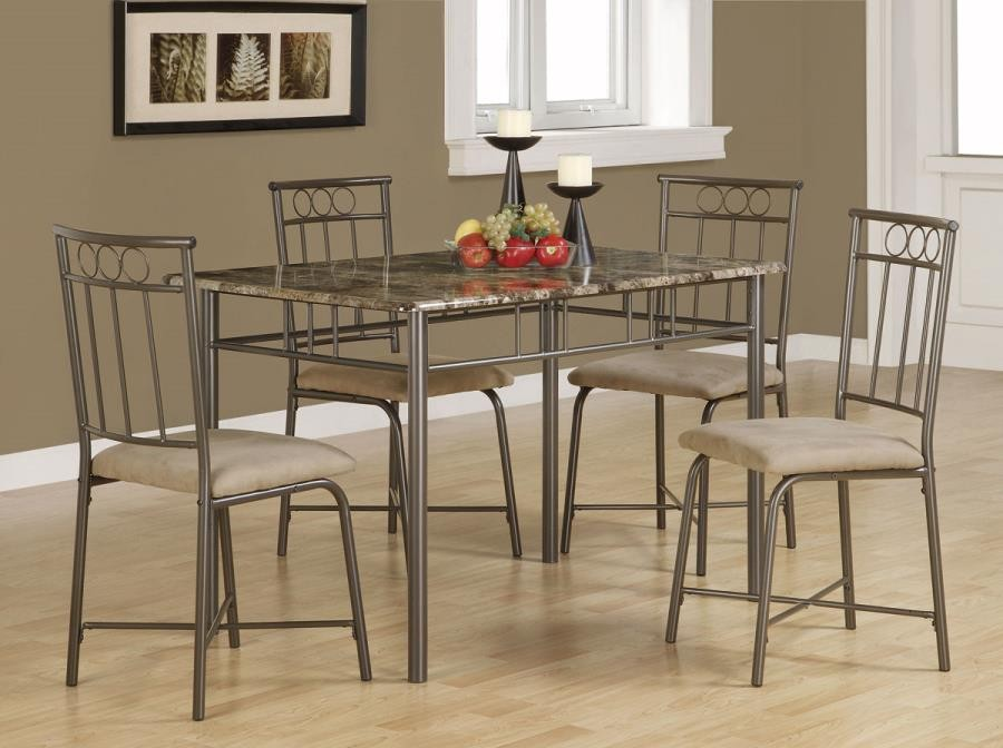 DINING: PACKAGED SETS: METAL - Casual Grey Metal Five-Piece Dining Set