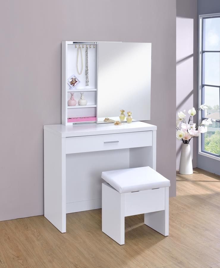 Modern Furniture Cheap Prices: Contemporary White Vanity And Upholstered Stool Set