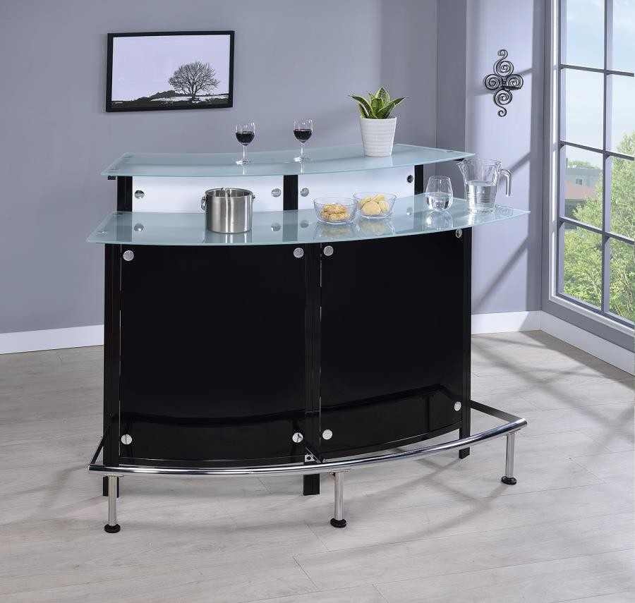 Black Home Bar Furniture: Two-Shelf Contemporary Chrome