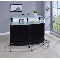 BAR UNITS: CONTEMPORARY - Two-Shelf Contemporary Chrome and Black Bar Unit