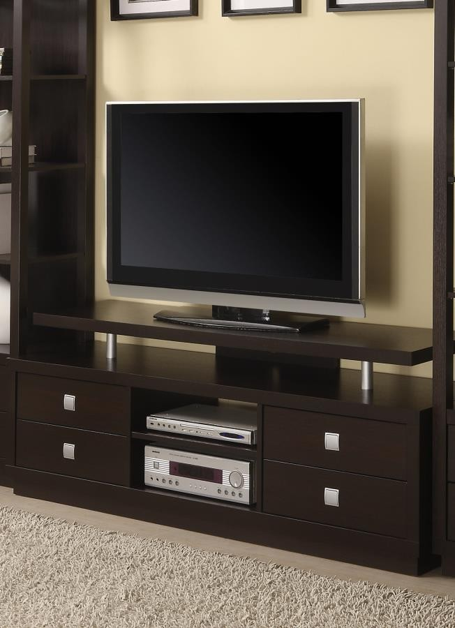 Living Room Tv Consoles Casual Cappuccino Tv Console 700696 Tv Stands And Media Centers Jb S Furniture