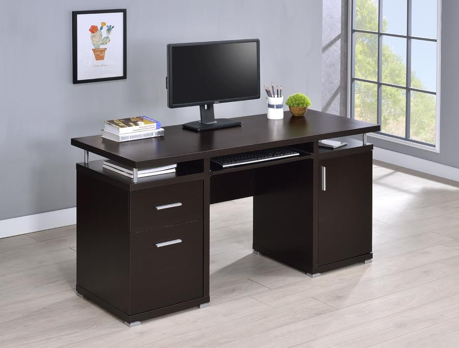 TRACY DESK - Contemporary Cappuccino Computer Desk