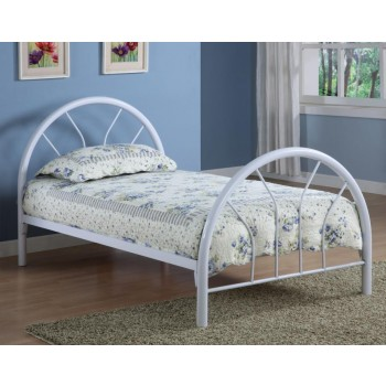 MARJORIE METAL BED - Transitional White Twin Bed