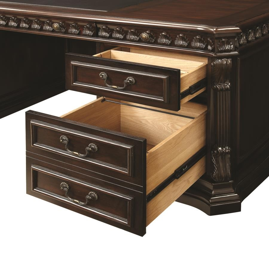 Quality Home Office Desks: Tucker Traditional Rich Brown