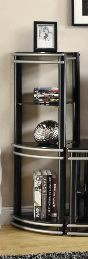 LIVING ROOM : TV CONSOLES - Contemporary Black and Silver Media Tower