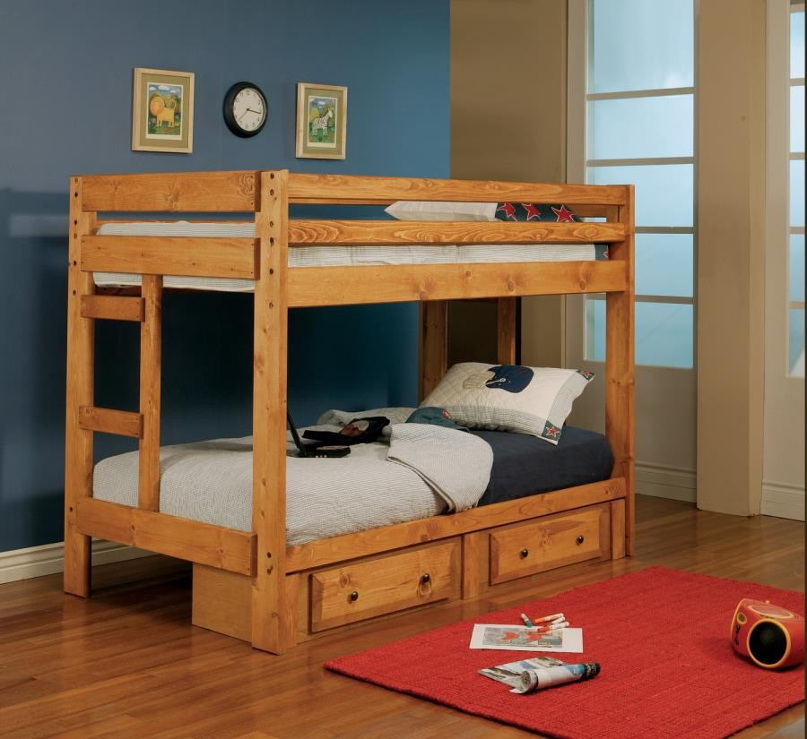 WRANGLE HILL COLLECTION - Wrangle Hill Amber Wash Twin-over-Twin Bunk Bed
