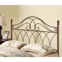 METAL HEADBOARD - Traditional Rich Brown Metal Headboard with Weave Design