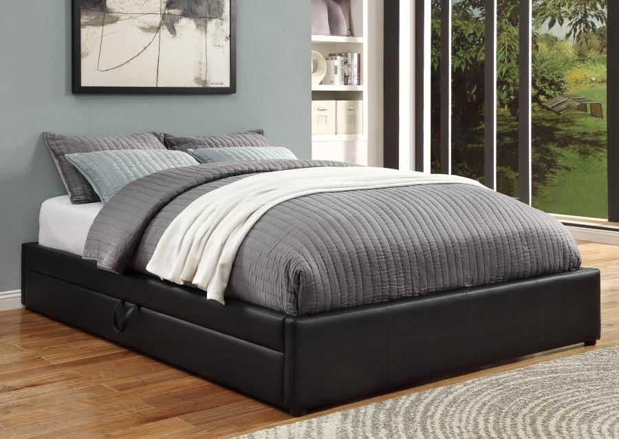 HUNTER UPHOLSTERED BED - Hunter Transitional Black Upholstered Queen Storage Bed