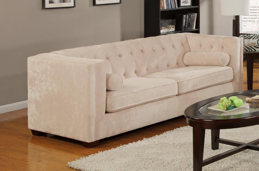 Alexis Collection - Alexis Transitional Almond Sofa