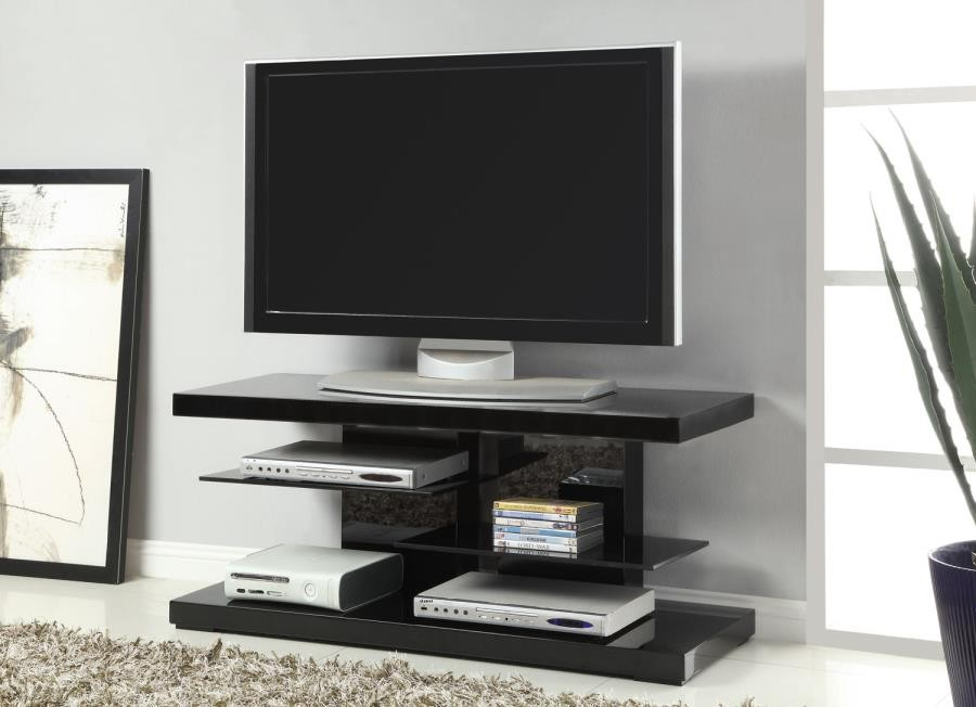 Living Room Tv Consoles Contemporary Glossy Black Tv Console 700840 Tv Stands And Media Centers The Unique Piece