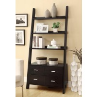 COLELLA COLLECTION - Contemporary Cappuccino Leaning Bookcase
