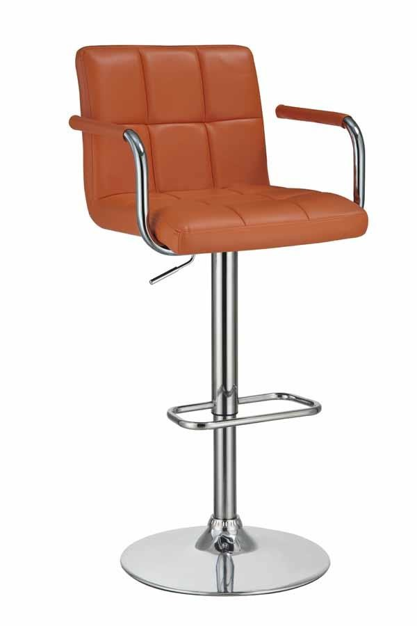 REC ROOM/BAR STOOLS: HEIGHT ADJUSTABLE - Contemporary Pumpkin and Chrome Adjustable Bar Stool with Arms