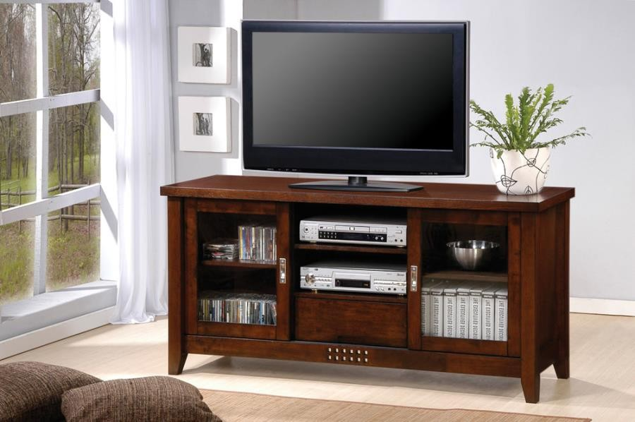 LIVING ROOM : TV CONSOLES - Transitional Warm Brown TV Console