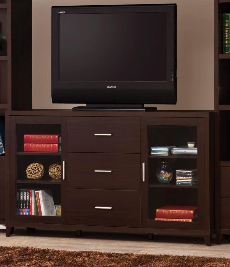 Living Room Tv Consoles Contemporary Cappuccino Tv Console 700881 Tv Stands And Media Centers Midtown Outlet Home Furnishings