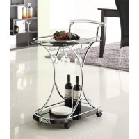 REC ROOM: SERVING CARTS - Chrome and Black Serving Cart