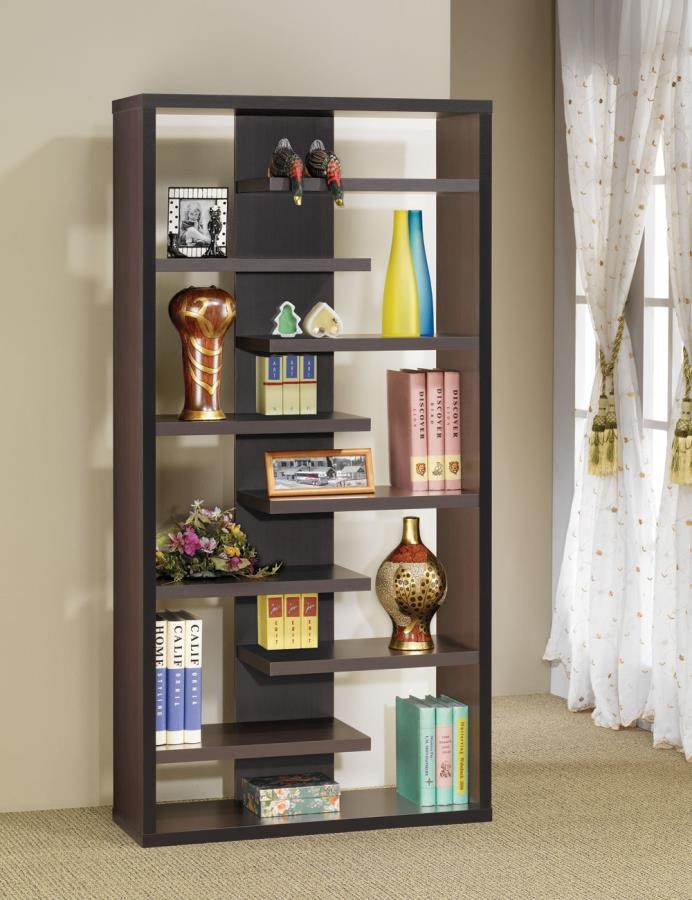 HOME OFFICE : BOOKCASES - Casual Dark Cappuccino Bookcase