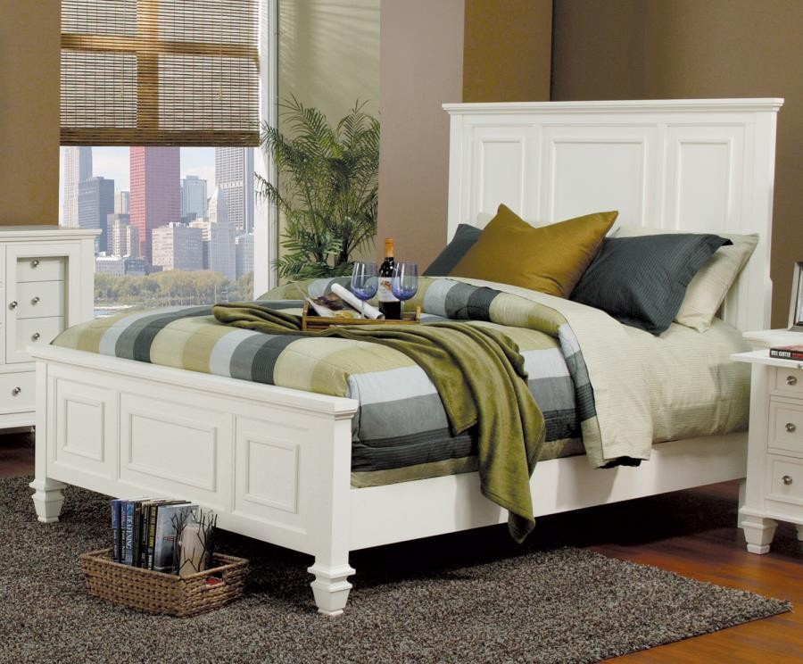 Sandy Beach Collection Sandy Beach White Queen Bed 201301q Complete Bed Sets Price Busters Furniture