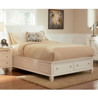 SANDY BEACH COLLECTION - Sandy Beach White Queen Sleigh Bed With Footboard Storage
