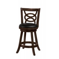 BAR STOOLS: WOOD SWIVEL - Traditional Espresso Counter-Height Stool (Pack of 2)