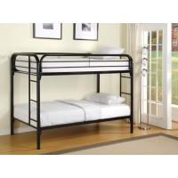 Twin/Twin Bunk Bed - Contemporary Twin Black Metal Bunk Bed