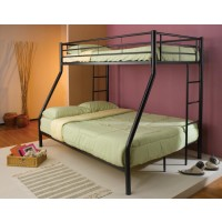 HAYWARD BUNK BED - Contemporary Black Twin-Over-Full Bunk Bed