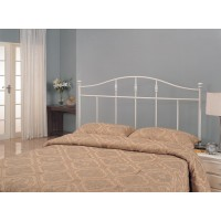 METAL HEADBOARD - Traditional Cottage White Metal Queen Headboard