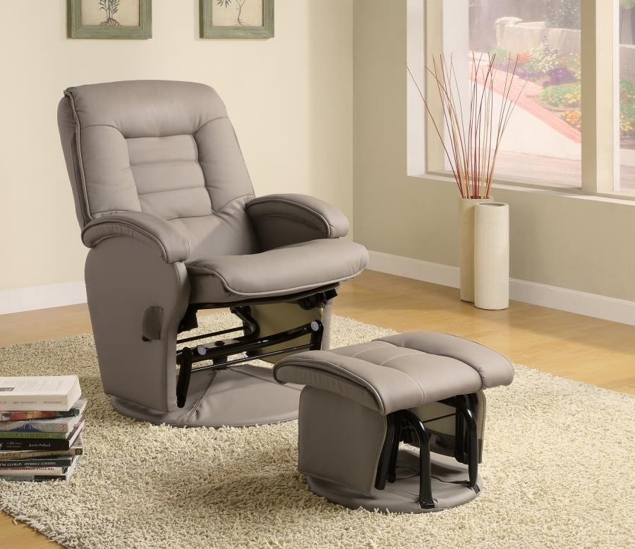 LIVING ROOM : GLIDERS - Casual Bone Faux Leather Vinyl Reclining Glider With Matching Ottoman