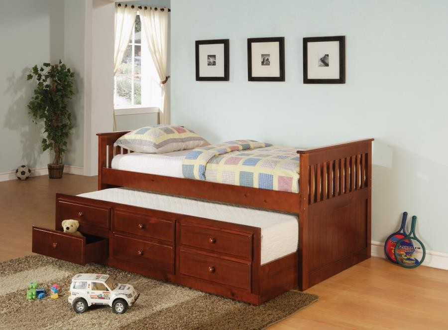 TWIN CAPTAIN'S BED WITH TRUNDLE - Transitional Cherry Twin Daybed