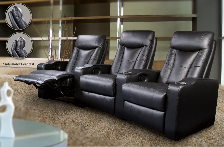PAVILLION HOME THEATER COLLECTION - Pavillion Black Leather Left Recliner