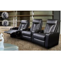 PAVILLION HOME THEATER COLLECTION - Pavillion Black Leather Right Recliner