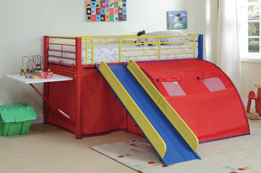 Muli Color Loft Bed Multi Color Themed Red Blue And Yellow Loft