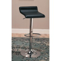 BAR STOOLS: HEIGHT ADJUSTABLE - Contemporary Black Adjustable Bar Stool (Pack of 2)