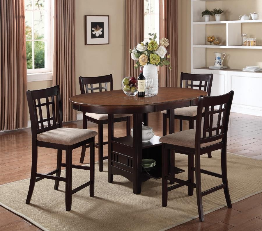 LAVON COLLECTION - Lavon Transitional Light Oak and Espresso Counter-Height  Table