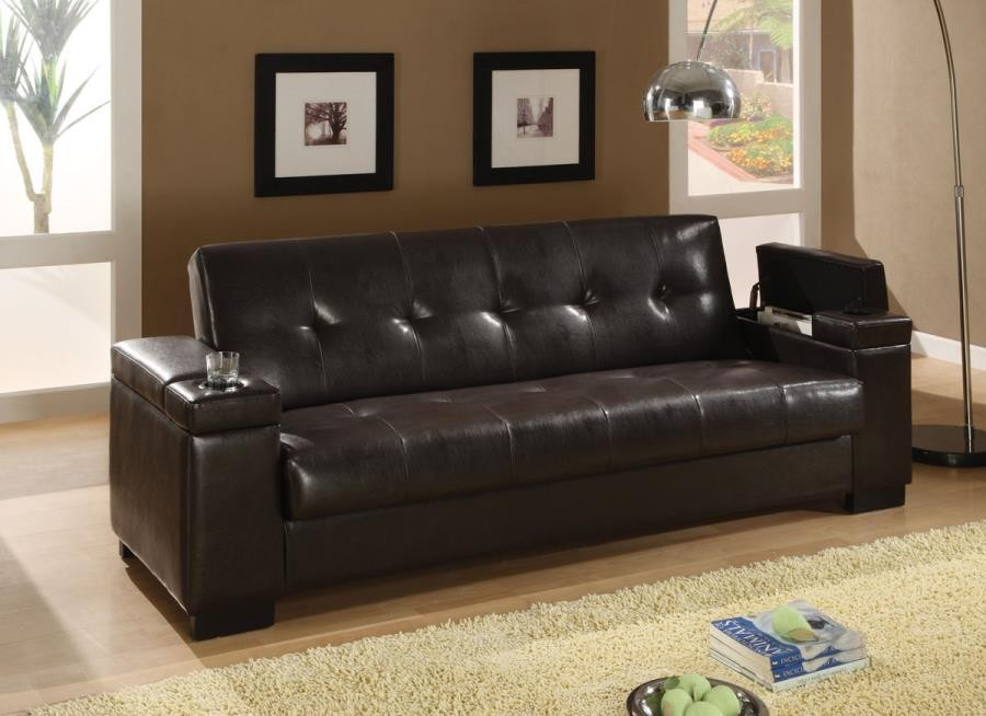 LIVING ROOM : SOFA BEDS - Transitional Dark Brown Sofa Bed