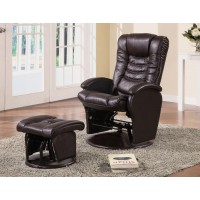 LIVING ROOM : GLIDERS - Casual Brown Faux Leather Reclining Glider With Matching Ottoman