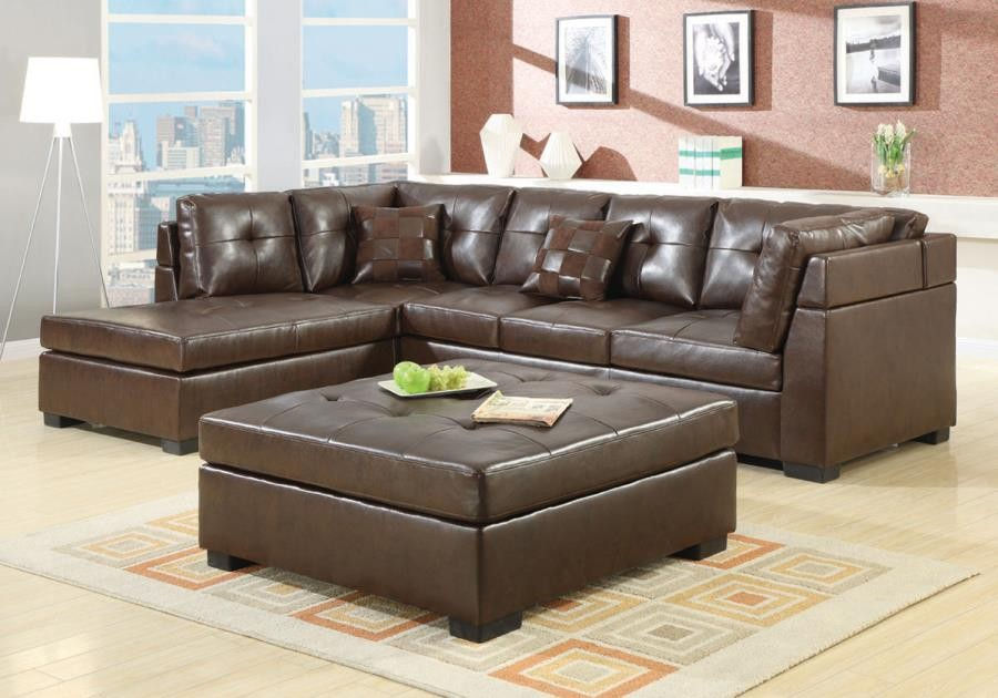 Remarkable Darie Sectional Darie Casual Brown Ottoman Gmtry Best Dining Table And Chair Ideas Images Gmtryco