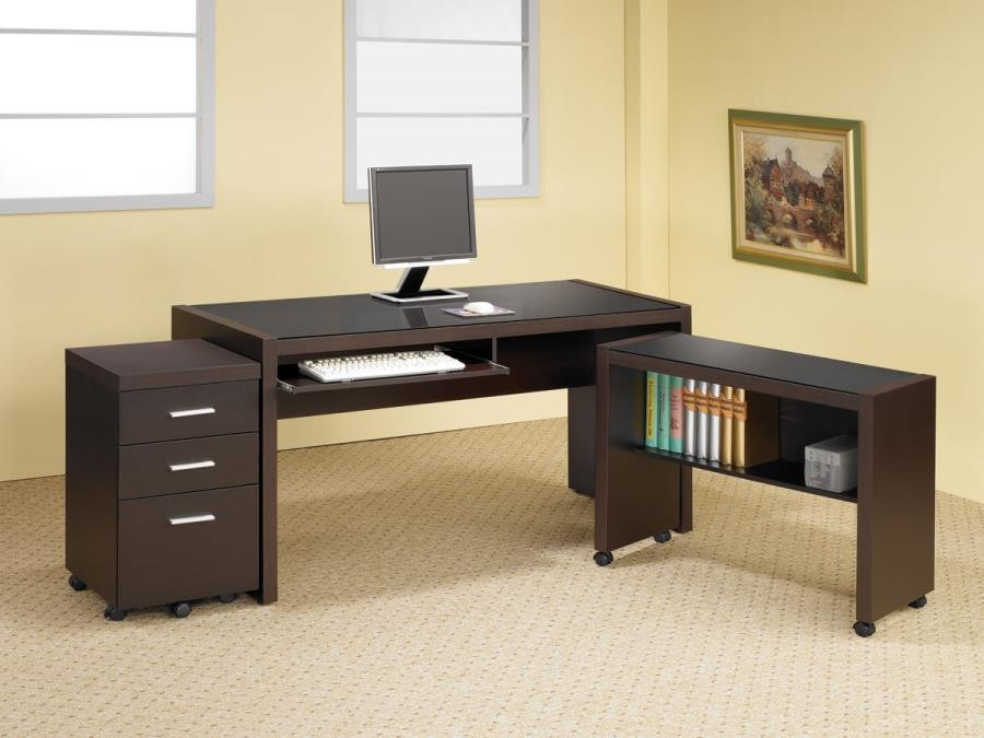 SKYLAR COLLECTION - Skylar Contemporary Cappuccino Computer Desk With Keyboard Tray