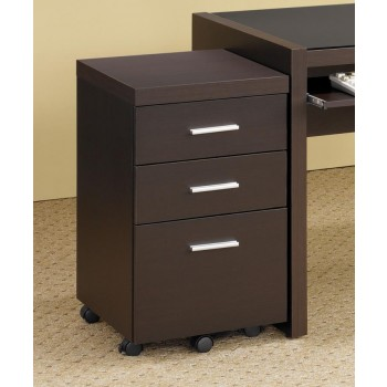 SKYLAR COLLECTION - Skylar Contemporary Cappuccino Three-Drawer Mobile File Cabinet