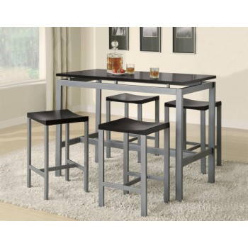 DINING: PACKAGED SETS : COUNTER HEIGHT - Casual Black and Silver Metal Five Piece Dining Set