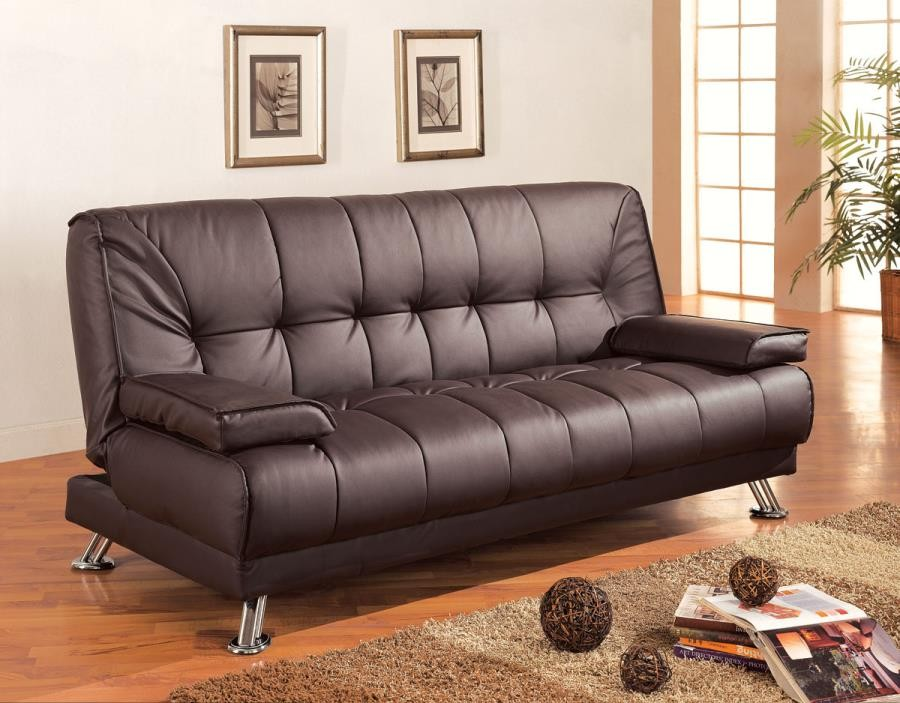 LIVING ROOM : SOFA BEDS - Casual Brown and Chrome Sofa Bed