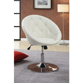 ACCENTS : CHAIRS - Contemporary White Faux Leather Swivel Accent Chair