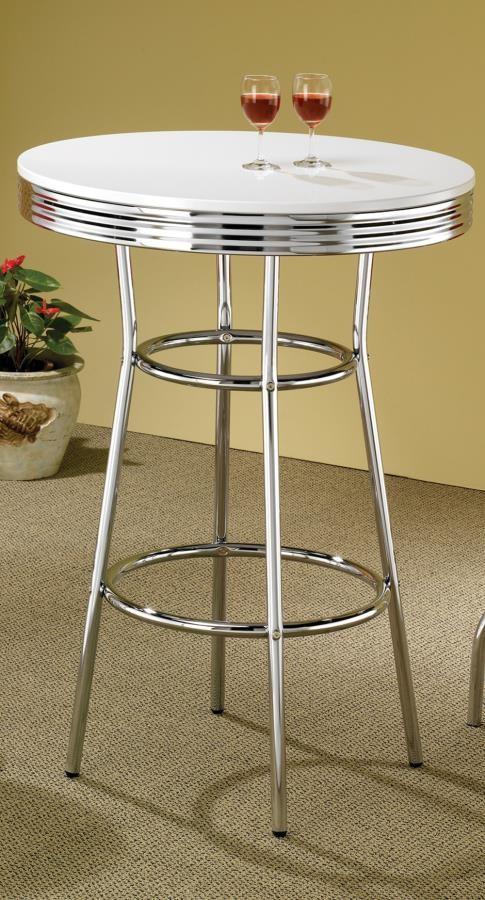 REC ROOM/ BAR TABLES: CHROME/GLASS - White Contemporary Round Bar Table