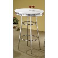 REC ROOM/ BAR TABLES: CHROME/GLASS - BAR TABLE