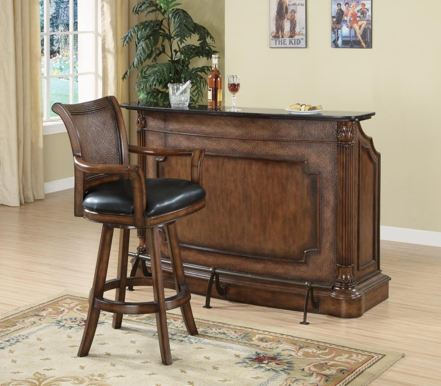 BAR UNITS: TRADITIONAL/TRANSITIONAL - Traditional Ornate Brown Bar Unit