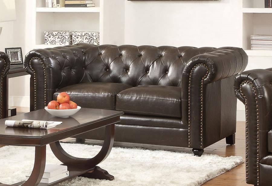 Awesome Roy Collection Roy Brown Loveseat 504552 Leather Love Ocoug Best Dining Table And Chair Ideas Images Ocougorg