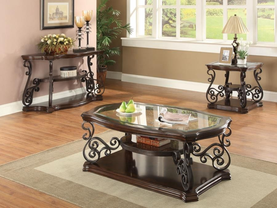 LIVING ROOM :TRADITIONAL OCCASIONAL TABLES - Occasional Traditional Dark  Brown Sofa Table